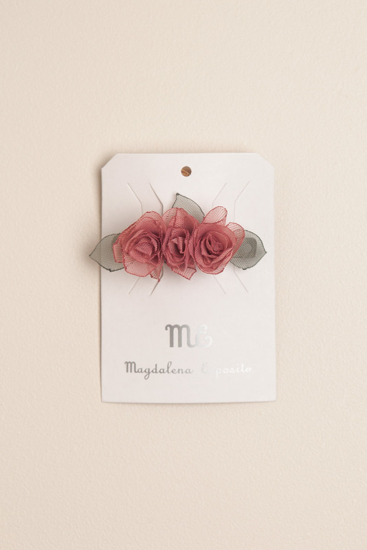 Hebilla francesa flores rosa roma