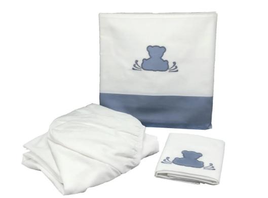 Sabana cuna 3 piezas teddy azul diamante