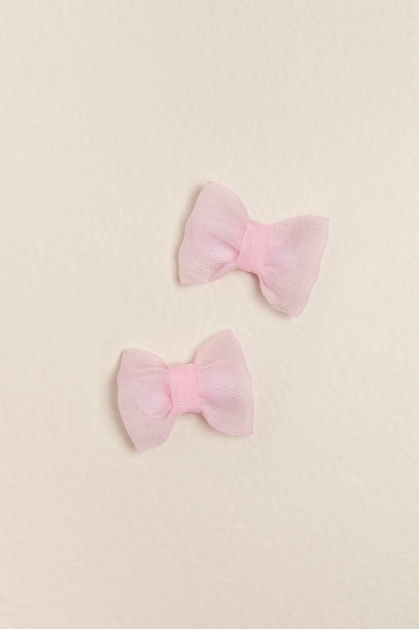 Par de velcros con moño rosa