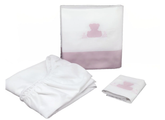 Sabana cuna 3 piezas teddy rosa quartzo