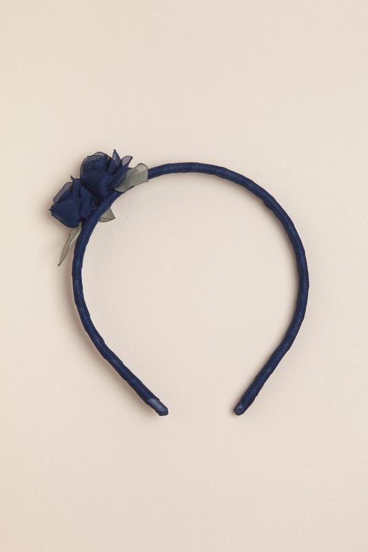 Vincha bb con dos flores azul