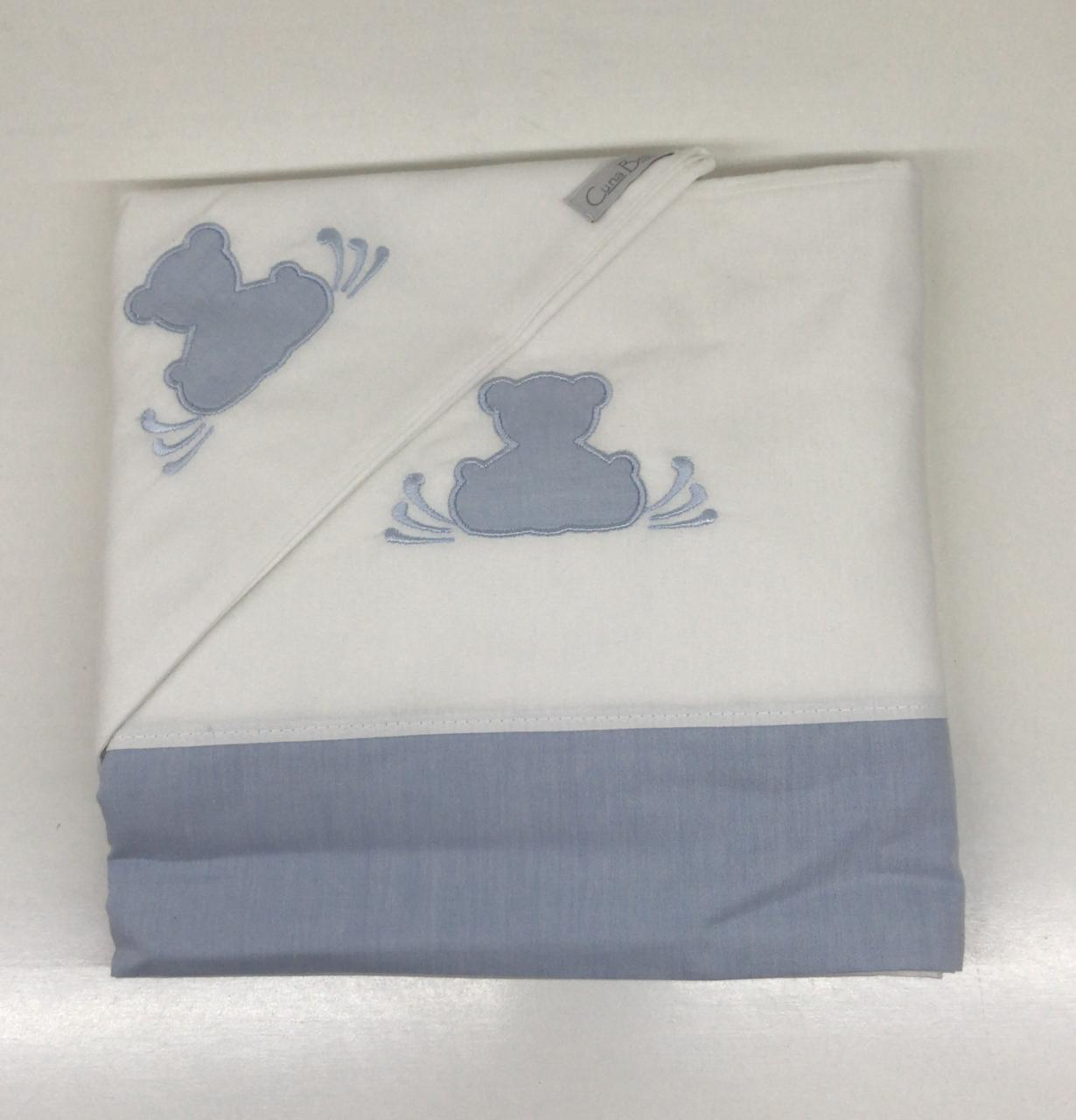 Sabana cuna 3 piezas teddy azul celeste