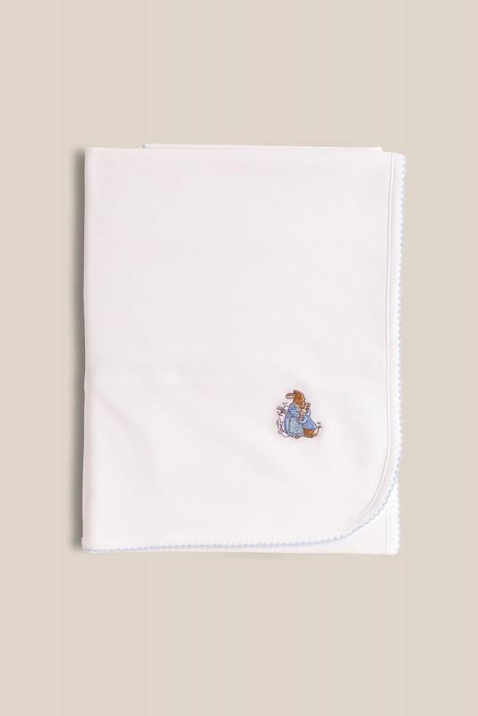Manta algodon Peter rabbit bco/cel