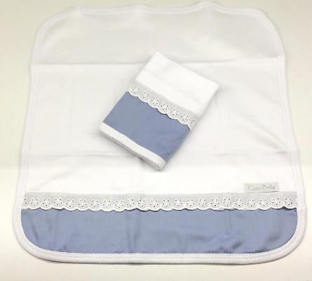 Kit de 2 babitas suedine bord. ingles azul diamante