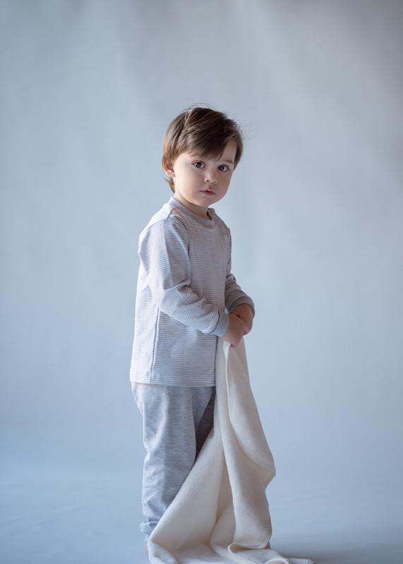 Pijama pima bco/gris