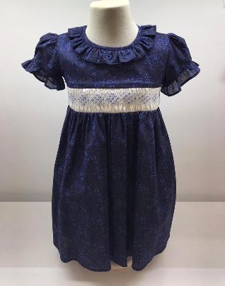 Vestido smock seri estamp. azul