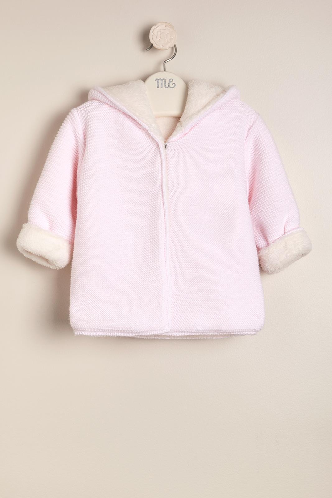 Campera tejida con pielcita rosa