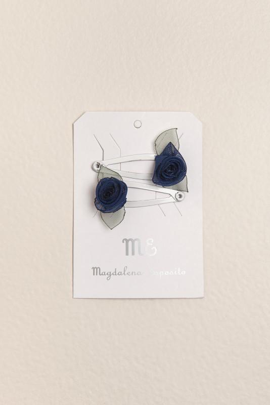 Par de sapitos con mini flor azul