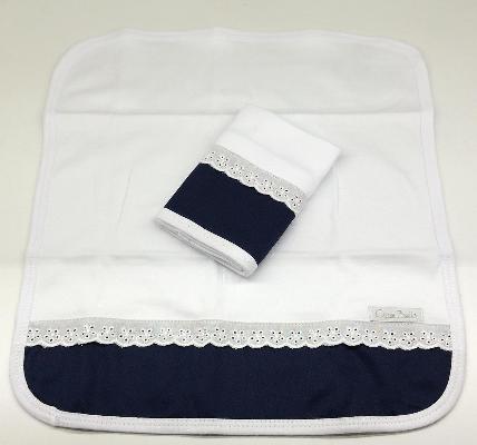 Kit de 2 babitas suedine bord. ingles azul marino