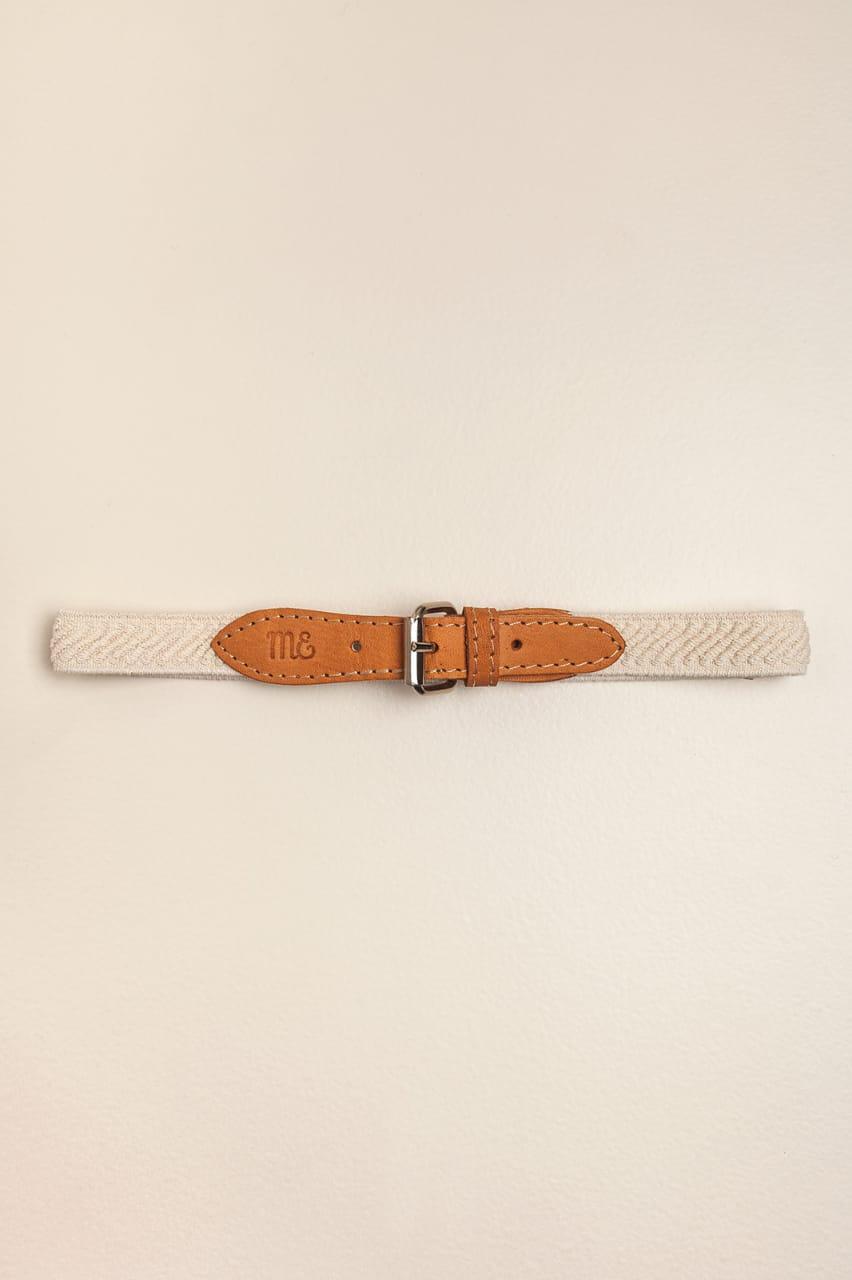 Cinto elastizado cuero natural beige