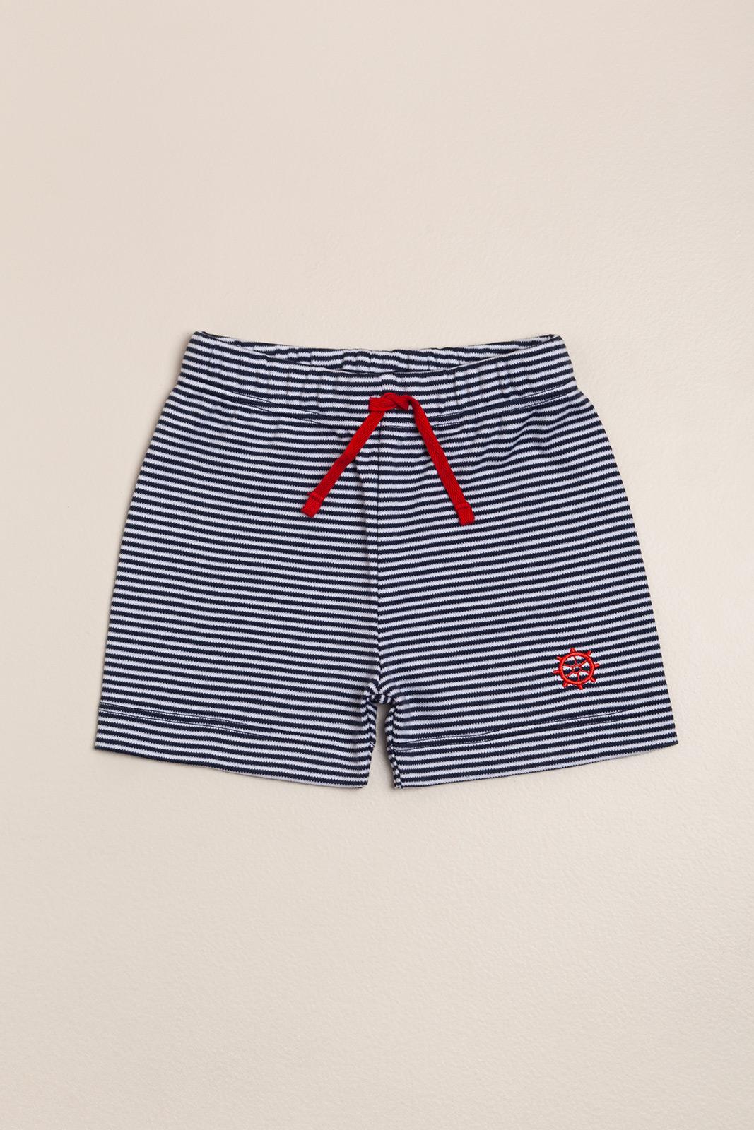Short rayado pima Navy