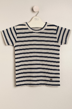 Remera de lino German azul/crudo