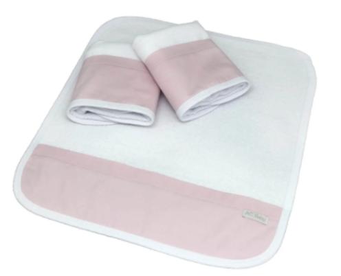 Kit de 3 babitas toalla rosa