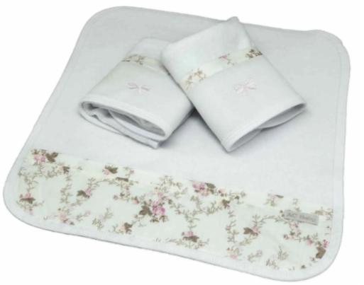 Kit de 3 babitas toalla bord. floral liberty