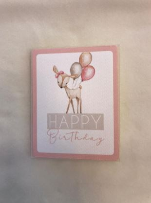 Tarjeta Happy birthday bambi globitos