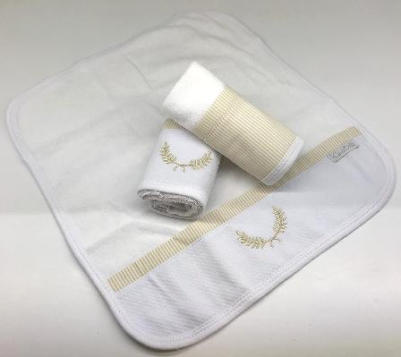 Kit de 3 babitas toalla bord. listras beige