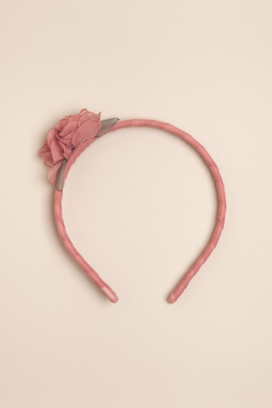 Vincha bb con dos flores rosa roma