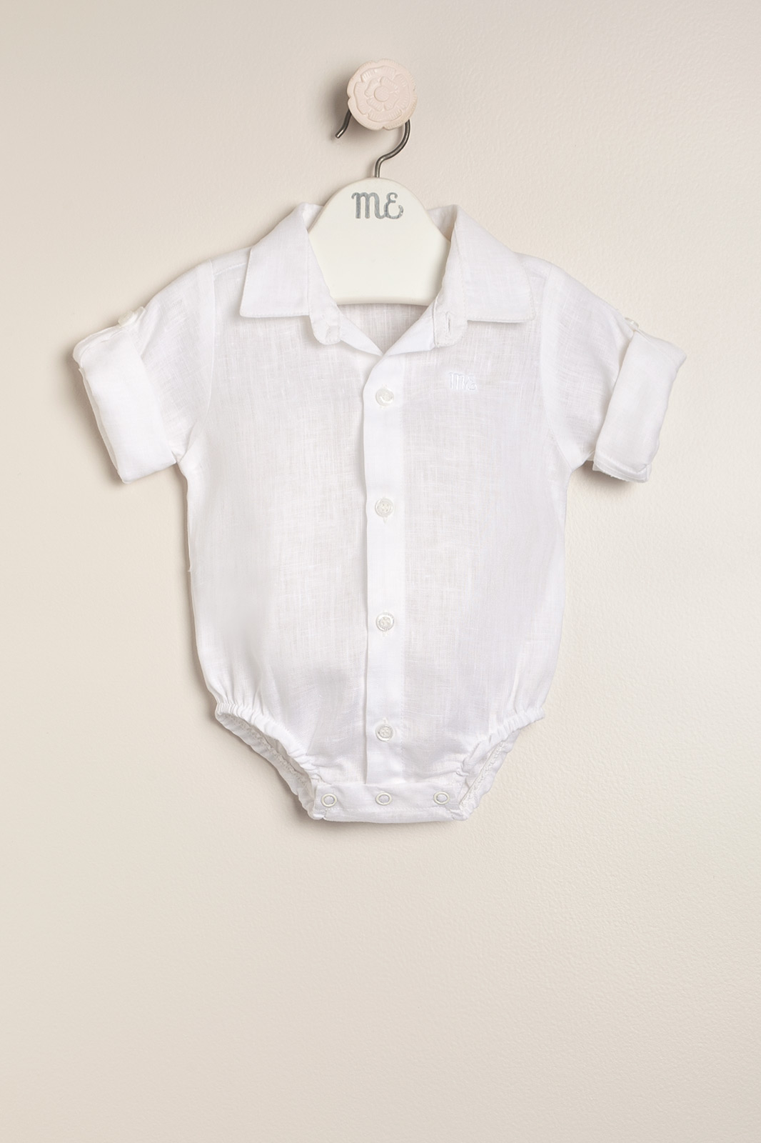 Body camisa de lino Giorgio blanco