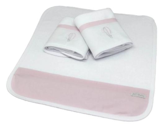 Kit de 3 babitas toalla bord. balao rosa