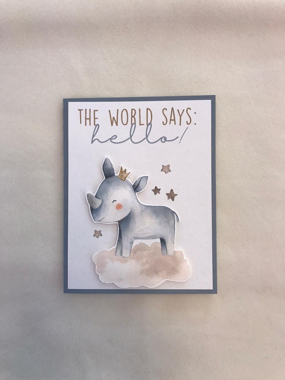 Tarjeta bienvenido al mundo rinoceronte