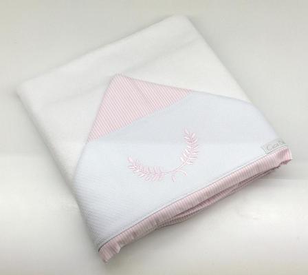 Toalla de baño doble personalita listras rosa