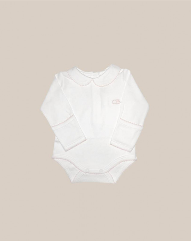 Body cuello bebe ml bl/rosa