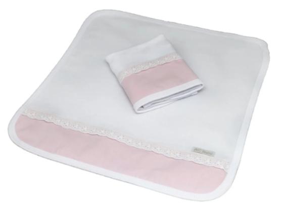 Kit de 2 babitas suedine bord. ingles rosa