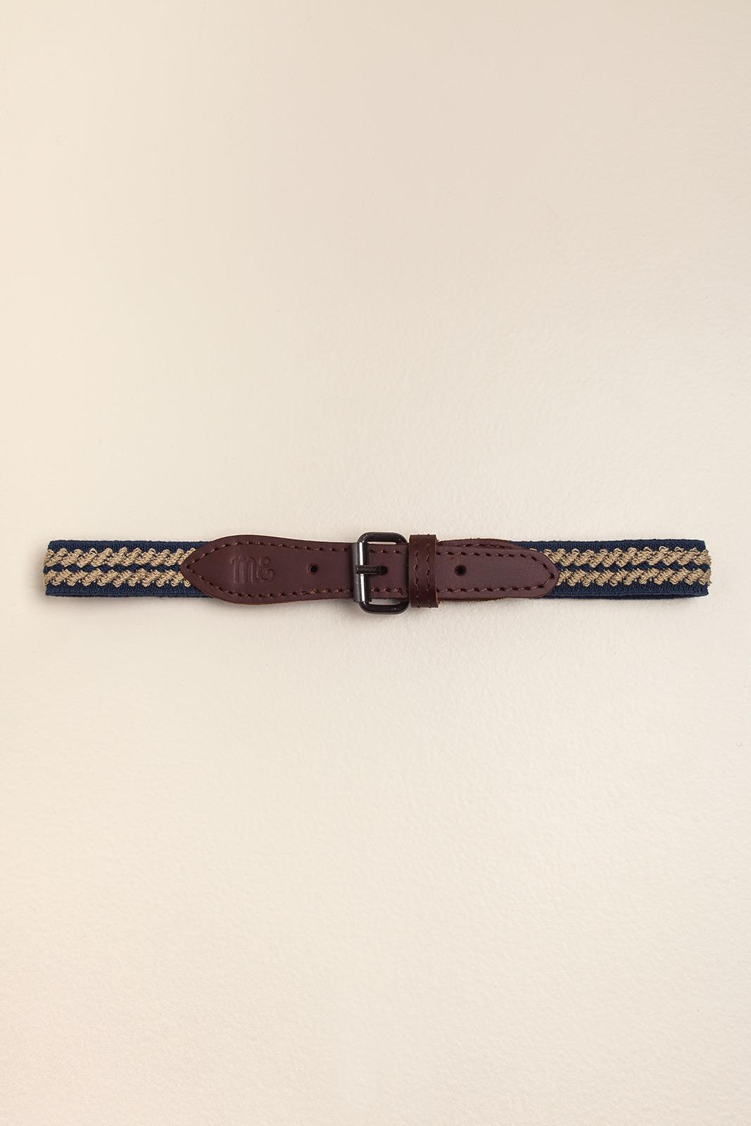 Cinto elastizado cuero natural azul con camel