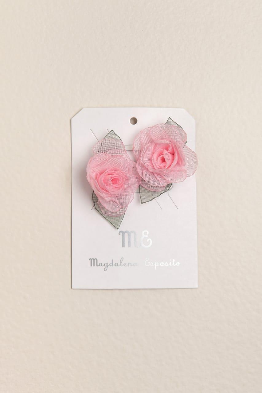 Par de sapitos con flor rosa