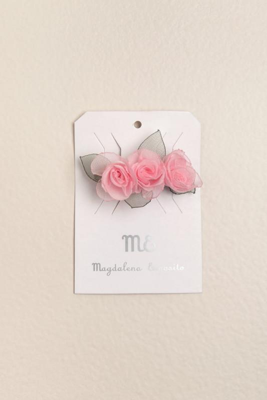 Hebilla francesa flores rosa