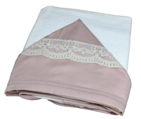 Toalla de baño doble renda francesa rosa