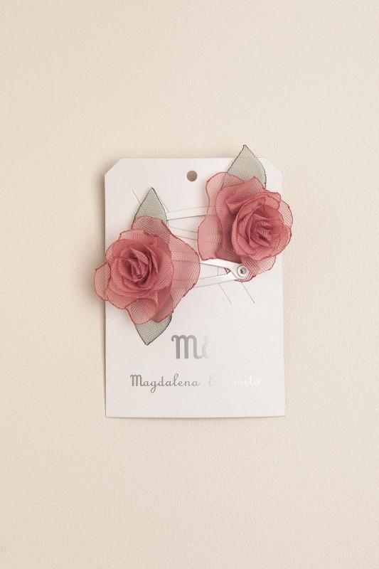 Par de sapitos con flor rosa roma