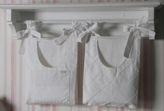 Duo porta pañales bord. ingles blanco