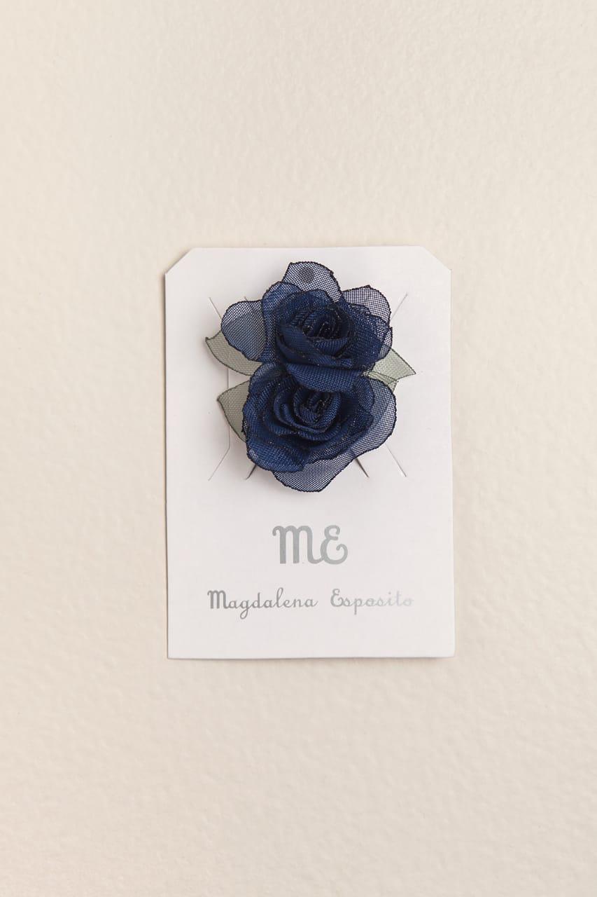 Par de gomitas con flor azul