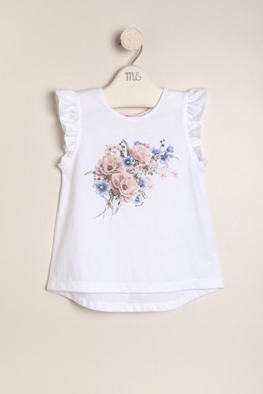 Remera estamp floral blanca