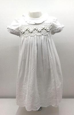Vestido smock voile bord blanco