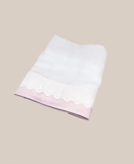Toalla de gasa bord. ingles rosa