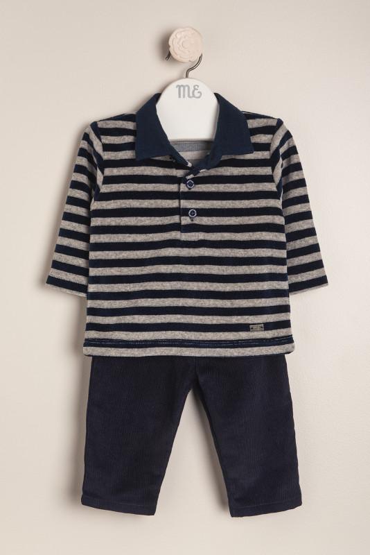 Conjunto plush y cord grigio e blu