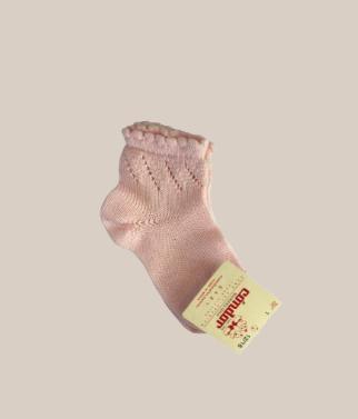 Calc. corto calado diagonal rosa