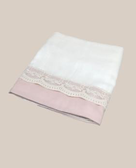 Toalla de gasa renda francesa rosa