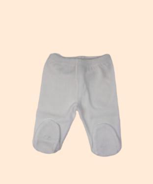 Pantalon basico con pie plush blanco