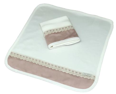 Kit de 2 babitas suedine renda francesa rosa