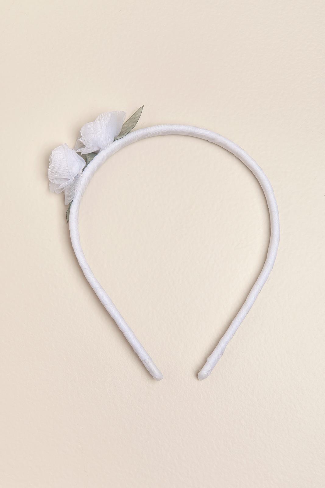 Vincha rigida con dos flores blanco