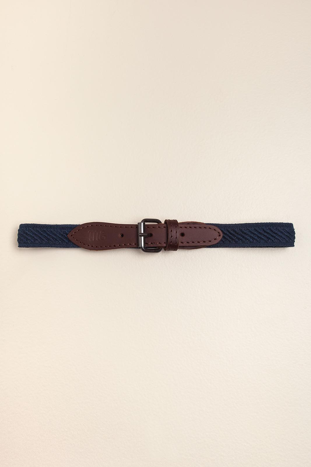 Cinto elastizado cuero natural azul