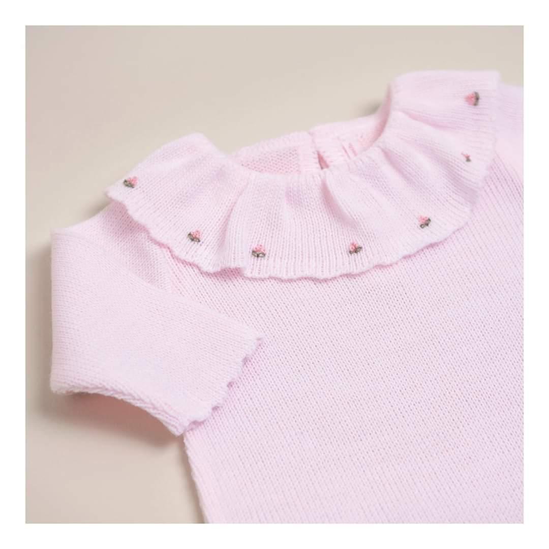 Enterito cuello tejido bord. rosa