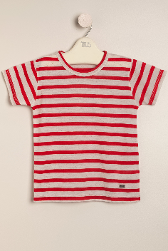 Remera de lino German rojo/crudo