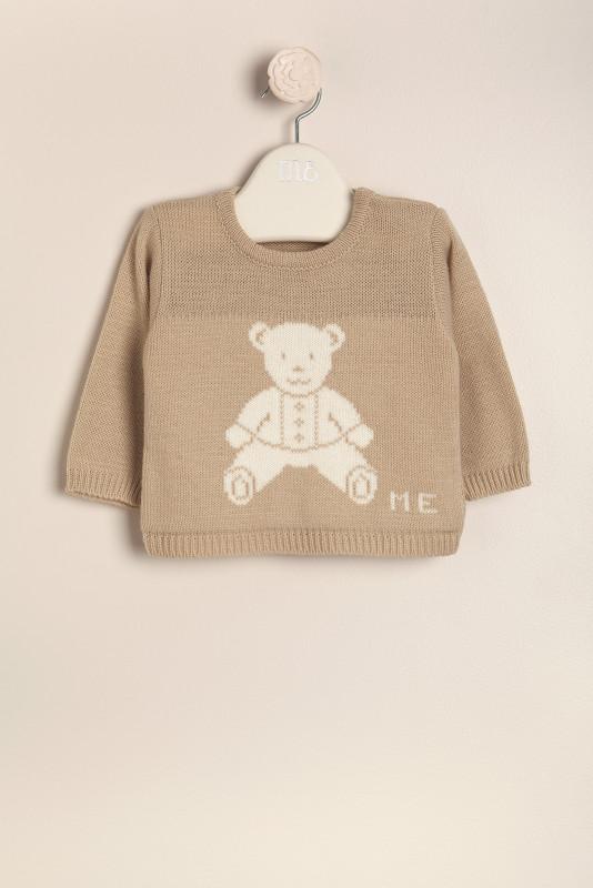 Sweater con osito beige