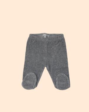 Pantalon basico con pie plush gris
