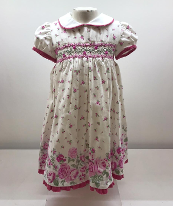 Vestido helena smock flor guarda rosa