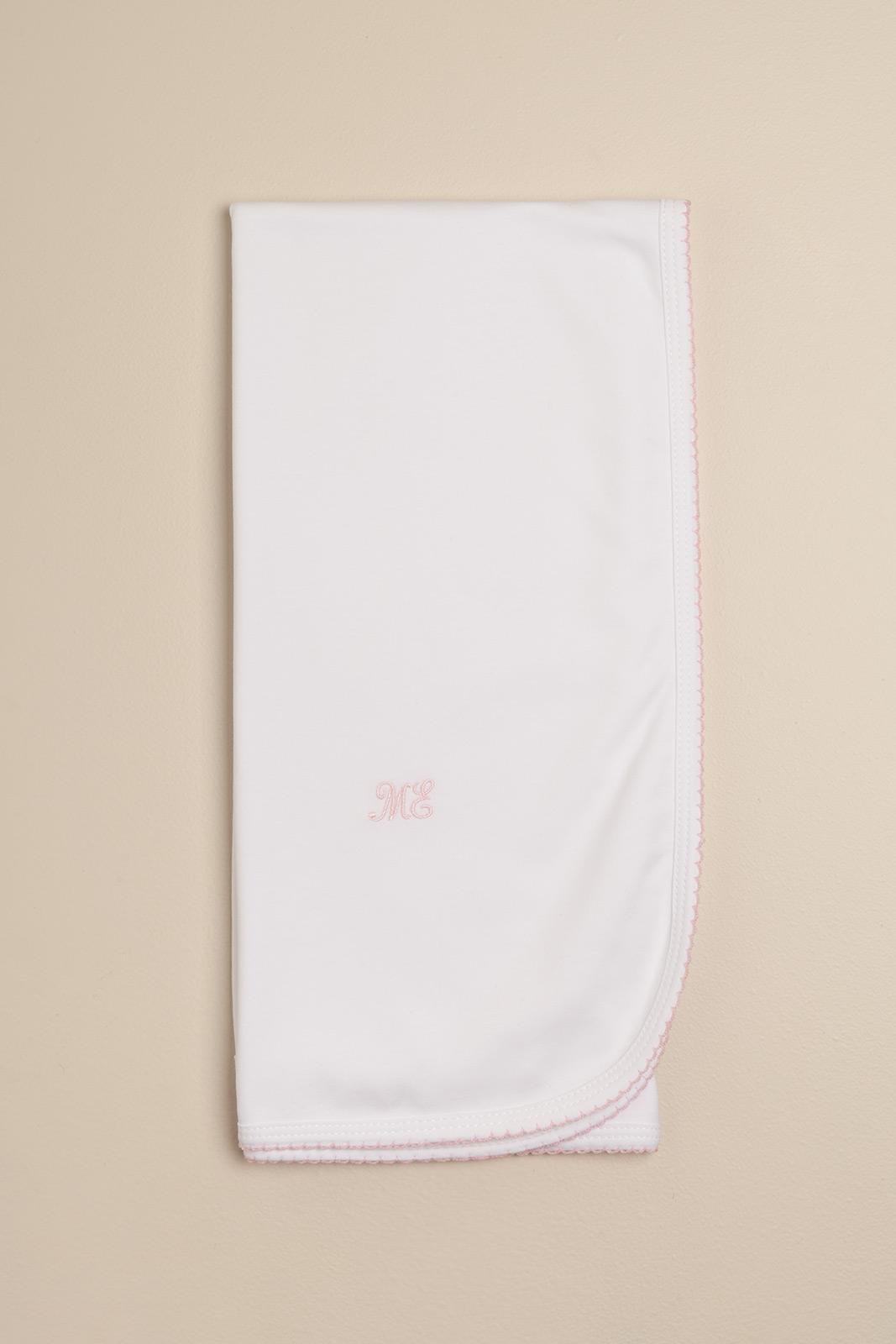 Manta basica blanco/rosa